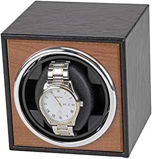 KH Automatic Single Watch Winder, in Wood Shell and Black Leather,Watch Winder, PU Leather Japanese Super Quiet Motor