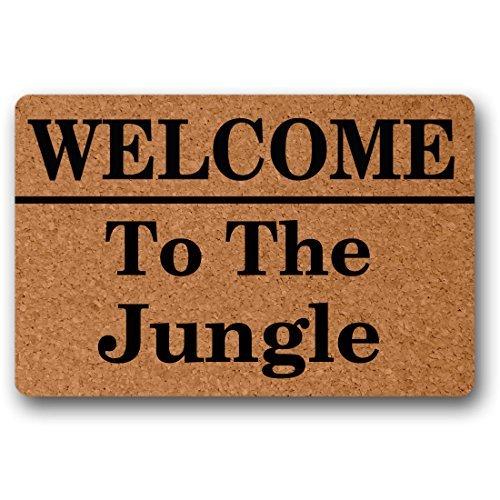 Norma Lily Felpudo para Puerta de Entrada de la Selva de Welcome To The Jungle, no Tejido, para Interiores y Exteriores, Decorativo, hogar y Oficina, Alfombrilla para Puerta DE 76,2 x 45,7 cm