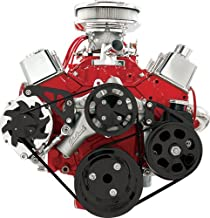 BILLET SPECIALTIES SMALL BLOCK CHEVY BLACK FRONT ENGINE SERPENTINE CONVERSION KIT WITH PRESS-ON POWER STEERING PUMP PULLEY & BRACKET, MIDDLE ALTERNATOR BRACKET, SBC WATER PUMP, CRANK, ALT. PULLEYS