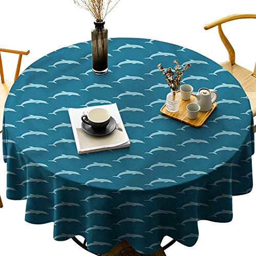 Dasnh Water and Oil Resistant Round Tablecloth Ocean Mammals Wildlife Diameter 36 inch for Parties, Weddings, Kitchen Table Cover