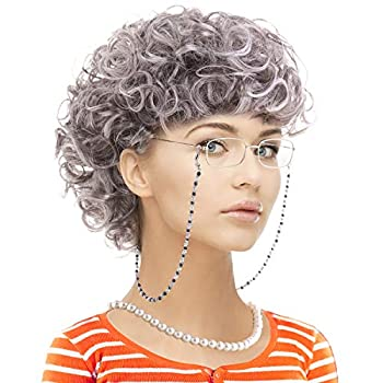 Old Lady Costume Set-Grandmother Wig,Wig Caps,Madea Granny Glasses Eyeglass Retainer Chain,Pearl Necklace 5 Pieces  Fits All