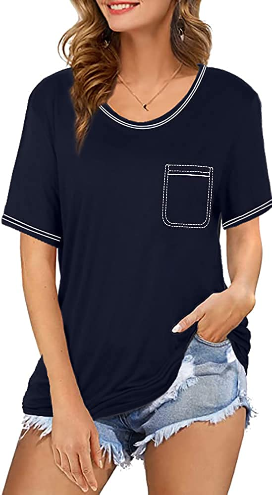 UNIQUEONE Womens Embroidered Pocket T Shirts Casual Short Sleeve Summer Tops