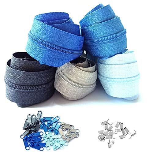 Reißverschluss endlos 3mm 15m Nylon Endlosreißverschluss 5 Farben mit 30 Zipper und 60 Endstück, Reißverschlüsse spiralförmig Meterware teilbar, 2.5cm breit für Kleidung Tasche Mäppchen Bettwäsche