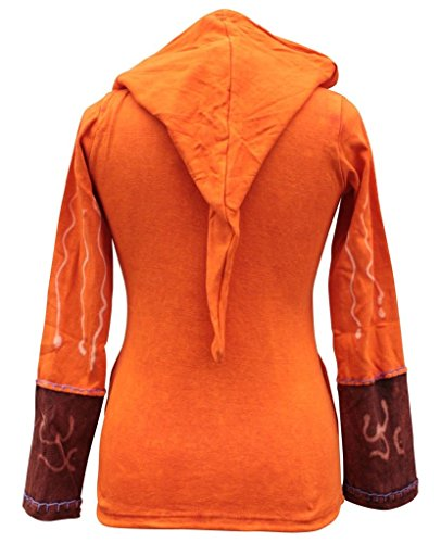 Shopoholic Giacca da donna con cappuccio, motivo con fiamme/sole, stile hippie Arancione 3XL