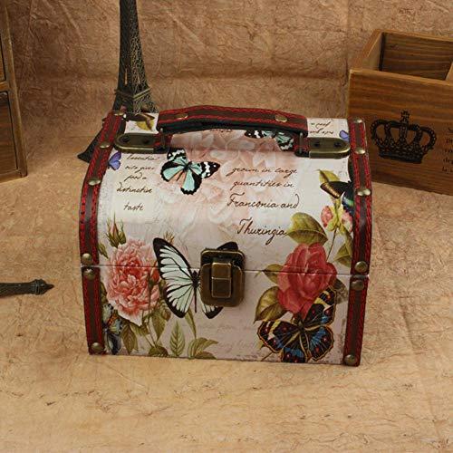 gdxy Schmuckkästen Schmuckschatullen Vintage Leder Schnalle Holz Schmuck Aufbewahrungskoffer Box Kosmetik Container Metall Schloss dekorative Schmuck Box Veranstalter