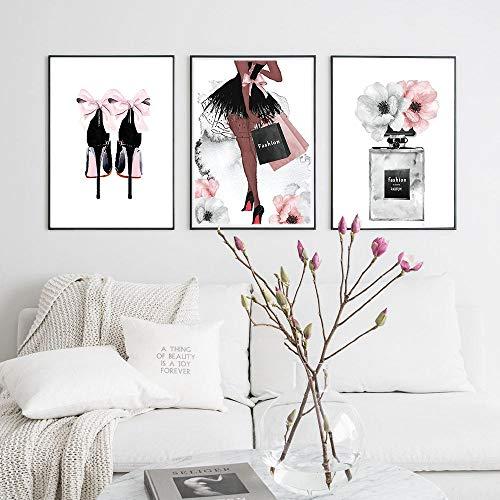 Parfümflasche, Motiv Nordic Wand, Mode, High Heels, Kunstdruck auf Leinwand, für Damen, Fotos, für Wohnzimmer, modern, Dekoration, 50 x 70 x 3 cm, ohne Rahmen