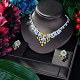 MLKJSYBA Collares Juego De Joyas De Flor Brillante AAA Cubic Zirconia Pave Women Wedding Jewelry Establece Un Accesorio De La Fiesta Nupcial Collares para Mujeres (Color : Silver)