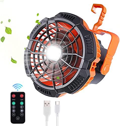 Ventiladores portátiles para acampar con luces LED, ventilador de escritorio pequeño recargable USB remoto 2 en 1, ventilador personal de tienda solar portátil con gancho para accesorios de acampada
