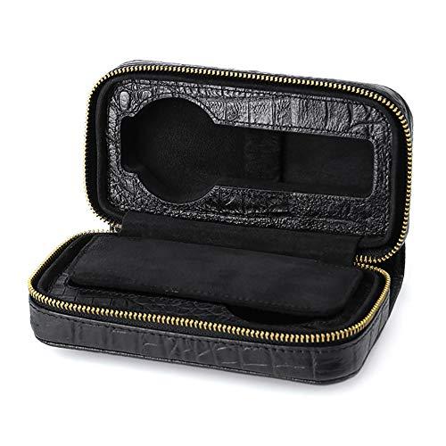 Leder Uhrenbox Vitrine Veranstalter Glas Schmuck Aufbewahrung Schwarz Nachahmung Krokodilleder Uhren Tasche Tragbare Reise