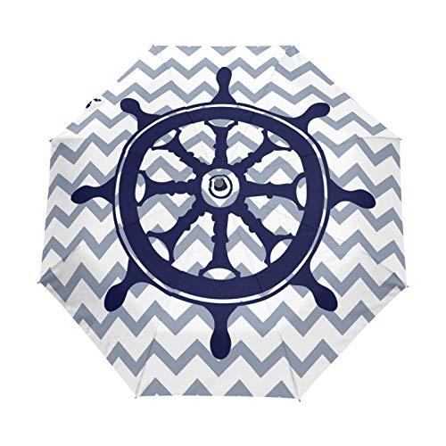 Kleiner Regenschirm Winddichter Regen im Freien Sonne UV Auto Compact 3-Fach Regenschirmabdeckung - Nautisches blaues Lenkrad