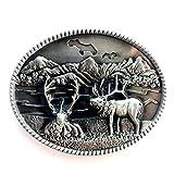 Vintage Elk Deer Belt Buckle Western Cowboy Native American (DER-05)