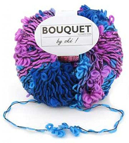 Pelote 150g laine fantaisie fleur oke bouquet - Bleu Rose
