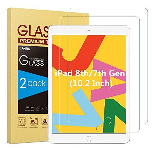 SPARIN 2 Stück Panzerglasfolie Kompatibel mit iPad 8. Generation und iPad 7. Generation, Schutzfolie für iPad 10,2 zoll, Blasenfrei
