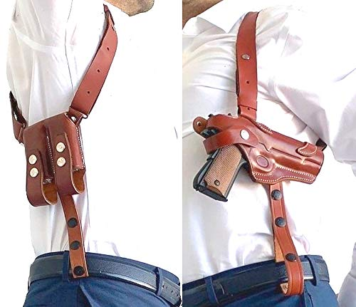 Rig for 1911 Leather Shoulder Gun Holster Fits Most 1911 Style Pistols - Kimber - Colt - S & W - Remington - Sig Sauer - Ruger / Right Handed / Handgun Holster - Mag Pouch - Shoulder-Tie Down Straps