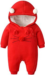 Fulision Hooded Romper Jumpsuit for Baby Girls Boys Lovely Winter Warm Pajamas