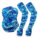 TAGVO Cuello Sombreros Bufanda Mangas De Brazo, Protección UV Abrigo Elástico para La Cabeza y Calentadores De Brazos, para Mujeres y Hombres Deportes Al Aire Libre,Pesca,Motorcycling
