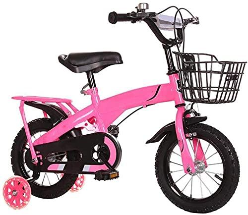 Bicicleta infantil para niñas y niños de 2 a 10 años de edad 12 14 16 18 pulgadas Bicicleta infantil con ruedas de entrenamiento y frenos de mano 4 colores rosa 46,7 cm