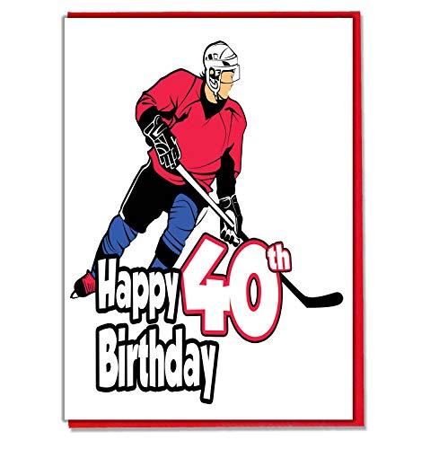 Geburtstagskarte zum 40. Geburtstag, Motiv: Eishockey, Herren, Sohn, Enkel, Vater, Bruder, Ehemann, Freund, Freund