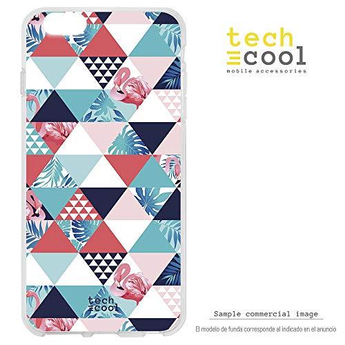 Funnytech® siliconen beschermhoes voor Huawei Honor 8 [flexibele siliconengel, exclusief design] flamingo-patroon, planten en driehoeken