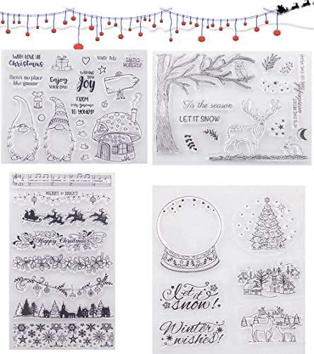 HIQE-FL 4 Blätter Stempel Weihnachten,Silikonstempel Winter,Silikonstempel Weihnachten,DIY Scrapbooking für Weihnachtskarten
