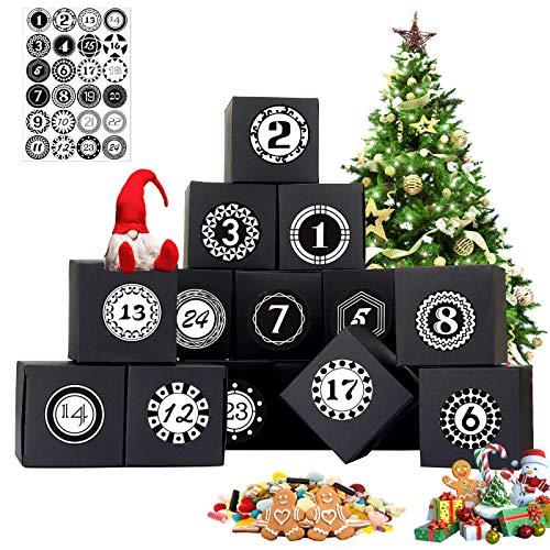 Sinwind Adventskalender zum Befüllen, Adventskalender Geschenkbox, DIY Weihnachtskalender Boxen, DIY Adventskalender, mit 1-24 Adventskalender Muster Zahlenaufklebern Kalender (Black)