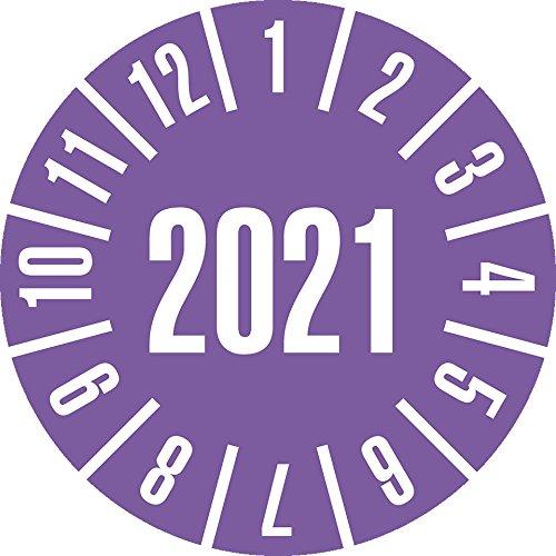 LEMAX® Prüfplakette 2021, violett, Dokumentenfolie, selbstklebend, Ø 35mm, 10/Bogen