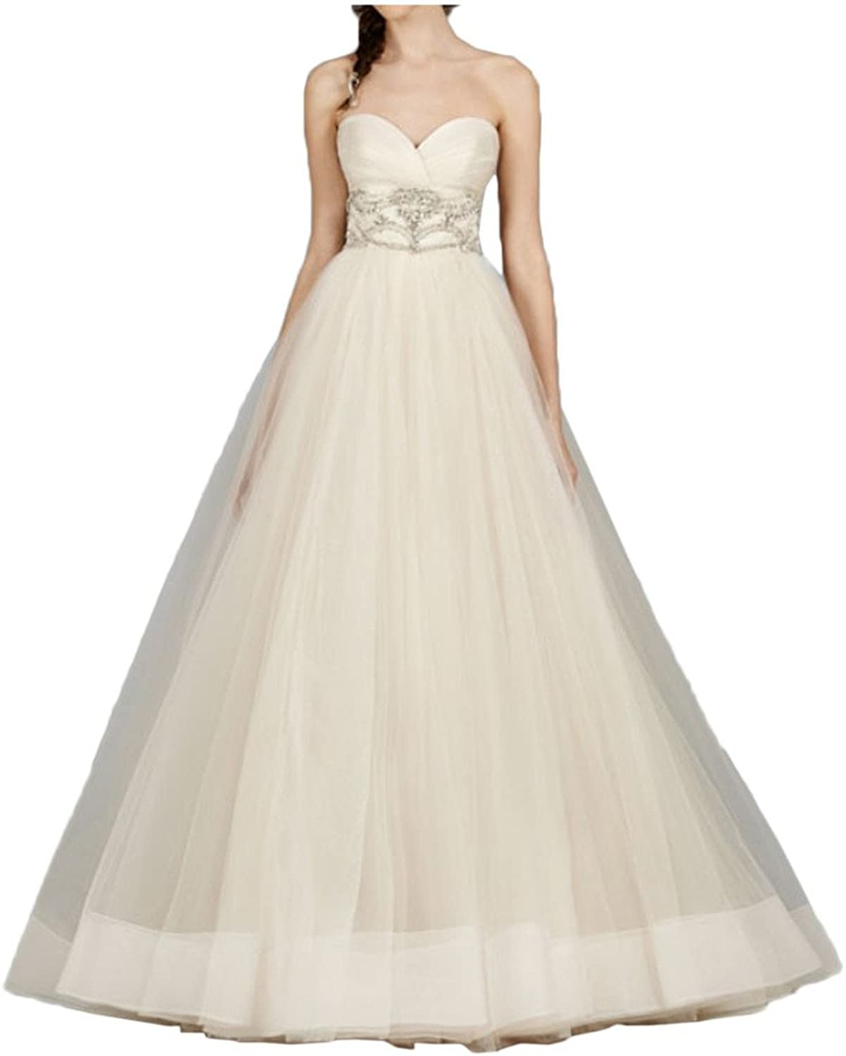 Avril Dress Glamgoldus Strapless Backless Wedding Dress Tulle Train Bridal Gown