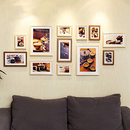 LHKAVE Décoration Simple de Style 12 pcs/Set Photo Frame, Creative Multi Cadres Photo Mur, Collage Cadre Photo Cadre en Bois pour Photos,B