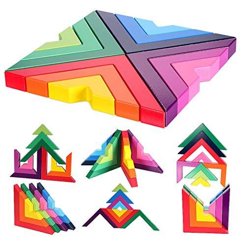 Wooden Rainbow Apilado Juego Apilador Geometría Bloques de construcción Anidamiento Creativo Juguetes educativos para niños pequeños (Juegos de Arco Iris 1)