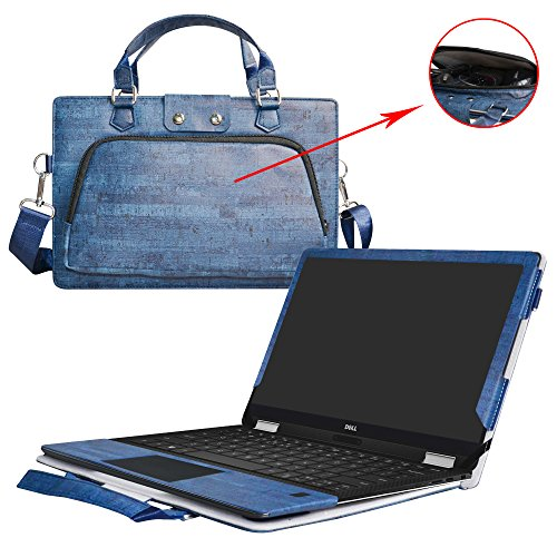 "XPS 13 2-in-1 9365 Case,2 in 1 Accurately Designed Protective PU Leather Cover + Portable Carrying Bag for 13.3"" Dell XPS 13 2-in-1 9365 Series Laptop(Not fit XPS 13 9360 9350),Blue"
