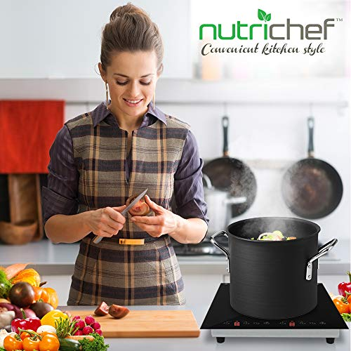 Product Image 7: NutriChef – Dual 120V Electric Induction Cooker – 1800w Digital Ceramic Countertop Double Burner Cooktop – Black