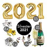 Silvester Deko 2021 XXL Party Set | über 100 Teile | XXL Zahlenluftballons 80cm Champagner & Cheers | Fotorequisiten Luftschlangen Konfetti