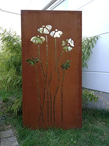Zen Man Garten Edelrost SichtschutzWand aus Corten Stahl 2mm Garten Sichtschutz B75H150cm 16,80kg 031925-2C
