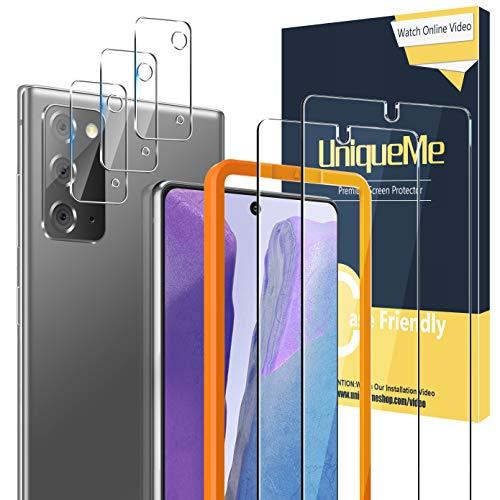 UniqueMe [2 Pack] Protector de Pantalla para Samsung Galaxy Note 20 5G / 4G + [3 Pack] Protector de Lente de cámara, Vidrio Templado [9H Dureza] HD Film Cristal Templado