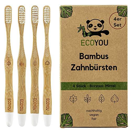 EcoYou® Bambus Zahnbürsten 4er Set mittel - Nachhaltige Holzzahnbürste vegan