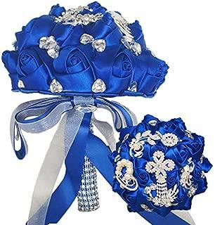 YOYOYU Luxury Royal Blue Tassels Diamond Wedding Bridal Bouquet Crystal Brooch Wedding Bouquet Silk Rose Artificial Flower W235 (Royal Blue)