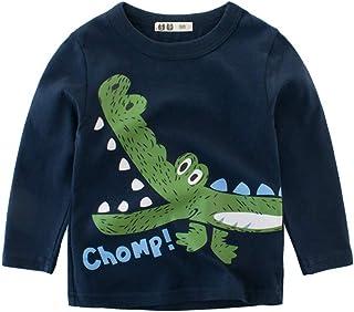 Houfung 2-7 Years Baby Boy Green Dinosaur Long Sleeve Children T-Shirts Cotton Boys T Shirt Kids Tops Children Clothes