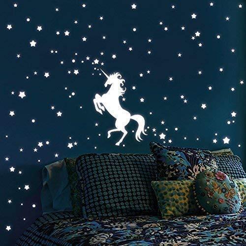 """Wandtattoo-Loft Leuchtaufkleber """"Einhorn mit 140 Leuchtsternen 80 Leuchtpunkte"""" - Leuchtsticker Leuchtsterne leuchten im Dunklen für einen tollen Sternenhimmel in Kinderzimmer oder Schlafzimmer"""