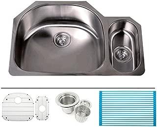 32 Inch Premium 16 Gauge Stainless Steel Undermount 80/20 D-bowl Offset Kitchen Sink with Free Accessories