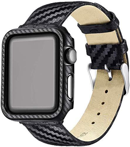 Nero Custodia Protezione Rigida Apple Watch Serie 3 Serie 2 con Cinturino 38mm Pelle,Fibra di Carbonio Cover Apple Watch 3 per Apple Watch 38mm Series 3 Series 2 Alto-Gloss Finitura in Tessuto Twill