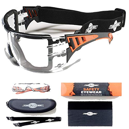 ToolFreak Rip Out Safety Glasses with Foam Padding,Protective Eyewear with Improved Vision For Men and Women,Impact and UV Protection,Hard Case and Cloth (Clear Lens)