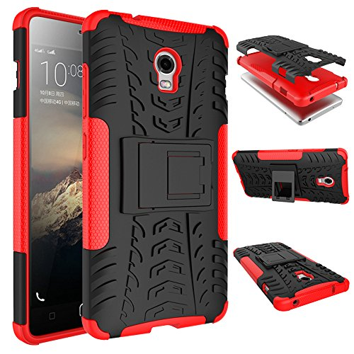 WindHülle Lenovo Vibe P1 Hülle, Outdoor Dual Layer Holster Armor Tasche Heavy Duty Defender Schutzhülle mit Ständer Hülle für Lenovo Vibe P1 Rot