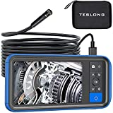 Teslong Dual Lens Endoscope Camera, 1080P Dual Camera Borescope Inspection Camera with 4.5' HD Monitor-16ft Waterproof Snake Camera-LED Ring Light-32GB MicroSD Card-Chargeable Battery -Carrying Case