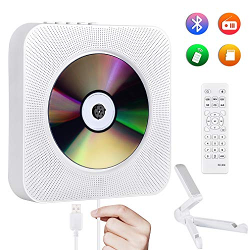 Reproductor de CD Portátil Gueray Montado en la Pared Bluetooth Altavoces HiFi Incorporados Radio FM Audio en el Hogar Reproductor de Música MP3 MP3 USB de 3,5 mm Toma de Auriculares Entrada