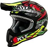 KYT casco Moto Cross off-road Strike Eagle, Web Matt Green/Red, talla M 57–58cm