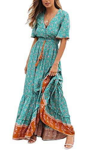 R.Vivimos Womens Summer Cotton Short Sleeve V Neck Floral Print Casual Bohemian Midi Dresses (Medium, Green)
