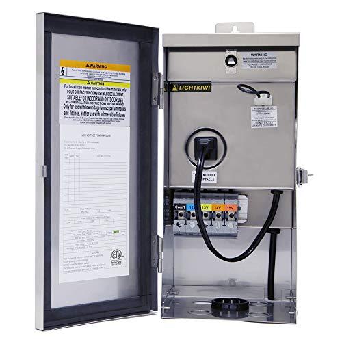 Lightkiwi W9715 300 Watt (12V-13V-14V-15V) Multi-Tap Low Voltage Transformer for Landscape Lighting
