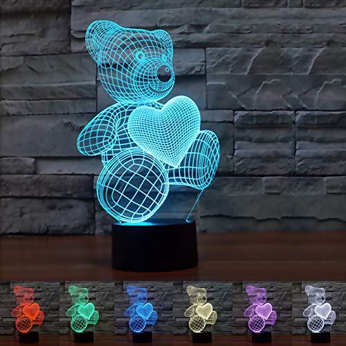 Coolzon 3D Lamparas Mesilla Lampara de Noche Dormitorio 7 Cambiar el Color botón táctil Oso de Peluche Night Light luz Bebe Nocturna luz Nocturna Infantil Enchufe [Clase de eficiencia energética A+]