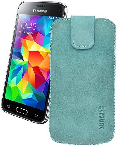 Suncase Original Tasche für Samsung Galaxy S5 / S5 Neo Leder Etui Handytasche Ledertasche Schutzhülle Hülle Hülle mit Zieh-Lasche