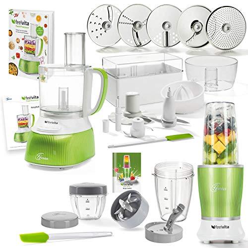 Genius Feelvita Food Processor | Deluxe Set 31 Teile | Küchenmaschine inkl. Feelvita Nutri Mixer | Smoothie-Maker | Stand-Mixer | Bekannt aus TV | NEU